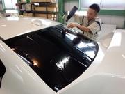 羽村市Rmc NEWデモカー!VAB WRX STI  シルフィード断熱フィルム施工 リア1枚貼り 立体整形作業
