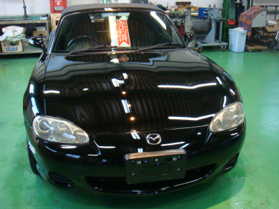 東京都青梅市S様 弊社販売車 NB8C ロードスター Rmcガラスコーティング G&#39ZOXハイパービュー 施工