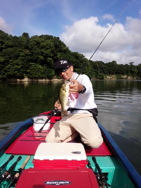 2014.9.3.亀山湖バス釣り OSP ハンツ5g ドラクロ3 白鳥島 おりきさわ