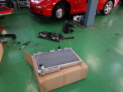 千葉県流山市Y様 弊社販売車 H7 RX-7 FD3S TRUST アルミ2層ラジエーター 取付作業