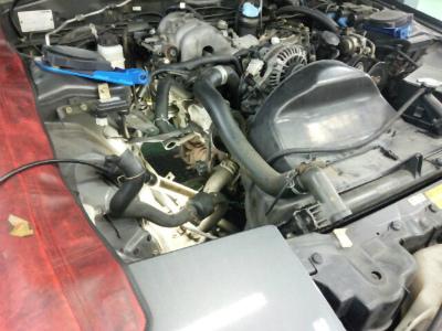 東京都日野市N様 RX-7 FC3S 車検 車検整備 排気漏れ修理 リビルトタービン交換作業